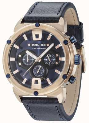 Police Armure ii boîtier en or rose cadran bleu foncé bracelet bleu foncé 15047JSR/03