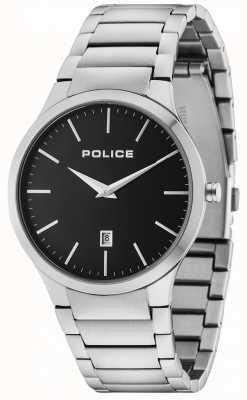 Police Horizon bracelet en argent cadran noir 15246JS/02M