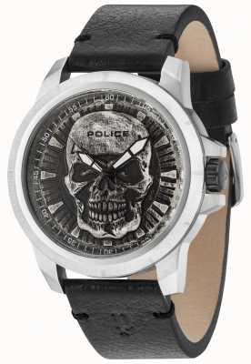 Police Bracelet Reaper en cuir noir avec cadran argenté et tête de mort 14385JS/57