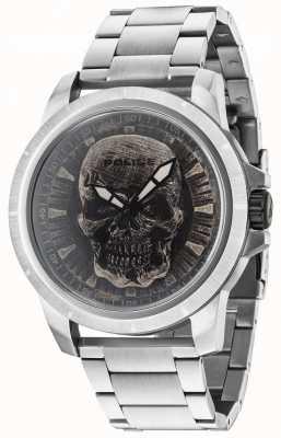 Police Reaper bracelet en argent cadran argenté avec tête de mort 14385JS/57M