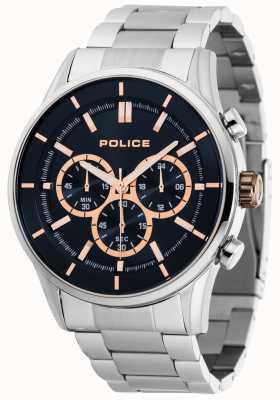 Police Bracelet Rush en acier inoxydable avec cadran bleu foncé 15001JS/03M
