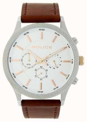 Police Bracelet en cuir brun avec cadran argenté 15002JS/04