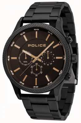Police Bracelet noir Pace avec cadran noir 15002JSB/02M