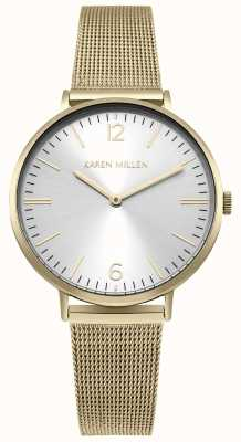 Karen Millen Cadran blanc soleil avec bracelet en acier inoxydable or KM163GM