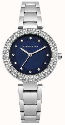 Karen Millen Cadran soleil bleu marine avec bracelet en acier inoxydable KM164USM