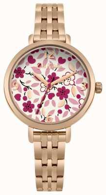 Cath Kidston Bracelet en or rose avec fleurs et cadran CKL037RGM