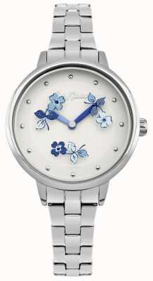 Cath Kidston Bracelet en acier inoxydable à cadran blanc imprimé floral blanc CKL039SM