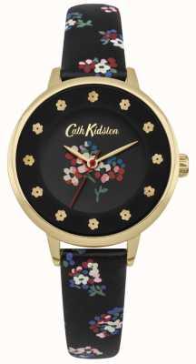 Cath Kidston Cadran noir floral impressions fleurs heure index or CKL040BG