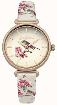 Cath Kidston Sautoir fleuri oiseau imprimé floral brid dial Boîtier plaqué or CKL041EG