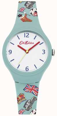 Cath Kidston Sangle en silicone imprimé turquoise blanc cadran mains rouges CKL026N