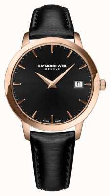 Raymond Weil Womens toccata bracelet en cuir noir cadran noir 5388-PC5-20001
