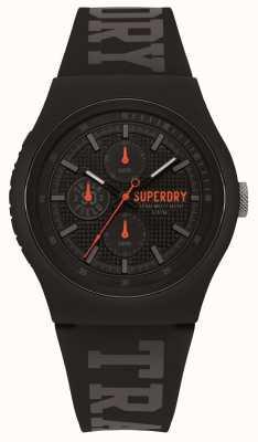 Superdry Bracelet en silicone noir imprimé gris SYG188BB