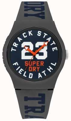 Superdry Piste d'état de piste cadran bleu face gris bracelet SYG182UE