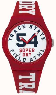 Superdry État de la piste cadran imprimé face blanche bracelet rouge SYG182WR