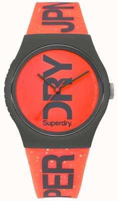 Superdry Cadran rouge urbain bracelet en caoutchouc noir SYL189CE
