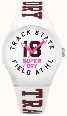 Superdry État de la piste cadran blanc face blanche bracelet SYL182VW