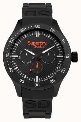 Superdry Cadran à motifs noir Boîtier en acier inoxydable noir Caoutchouc noir SYG210BB