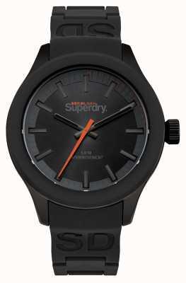Superdry Boîtier noir cadran noir et bracelet en silicone noir orange seconde SYG211EE