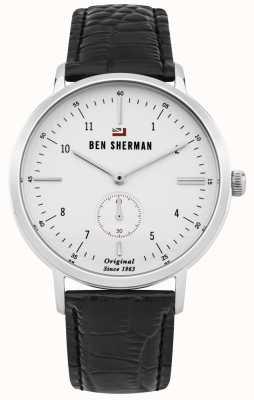 Ben Sherman Le dylan professionnel visage blanc bracelet en cuir noir WBS102WB
