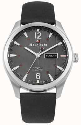 Ben Sherman Le bracelet sugarman héritage gris bracelet en cuir noir WBS105B