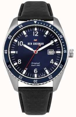 Ben Sherman Le Ronnie Sport cadran bleu argent boîtier en cuir noir WBS107UB