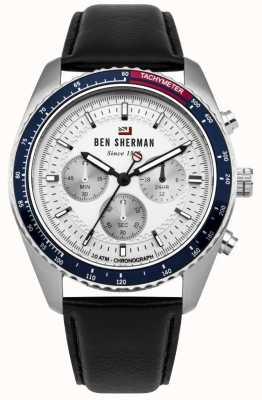 Ben Sherman Le chronographe ronnie blanc sunray cadran en cuir noir WBS108UB