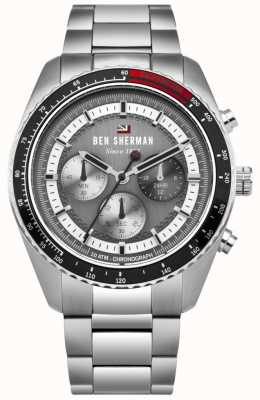 Ben Sherman Le chronographe ronnie gris sunray cadran en acier inoxydable WBS108BSM