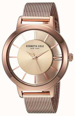Kenneth Cole Womens new york quartz rose or maille d'acier inoxydable KC15172002