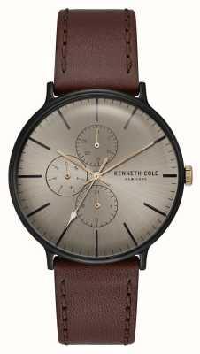 Kenneth Cole New York cadran en bronze boîtier noir bracelet en cuir marron foncé KC15189002