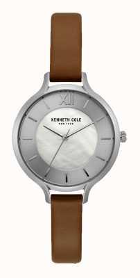 Kenneth Cole New York cadran argenté bracelet en cuir brun foncé KC15187005
