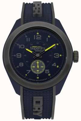 Superdry Navigator militaire bleu et gris deux tons bracelet en caoutchouc SYG214U