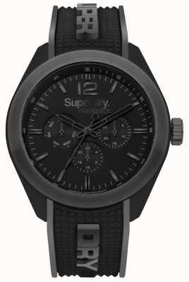 Superdry Navigator chic bracelet en silicone noir rehauts gris SYG215EB