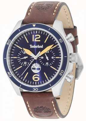 Timberland Gloucester cadran bleu bracelet en cuir marron 15255JS/03