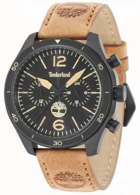Timberland Gloucester cadran noir bracelet en cuir beige 15255JSB/02