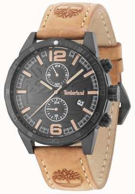 Timberland Sagamore cadran noir bracelet en cuir beige 15256JSB/02