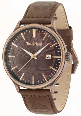 Timberland Edgemont antique laiton brun cadran bracelet en cuir marron 15260JSQBZ/12