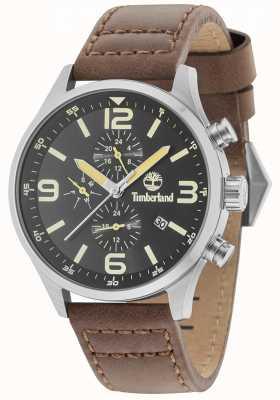 Timberland Rutherford cadran noir bracelet en cuir marron 15266JS/02