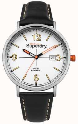 Superdry Bracelet en cuir noir cadran blanc couronne orange SYG190B