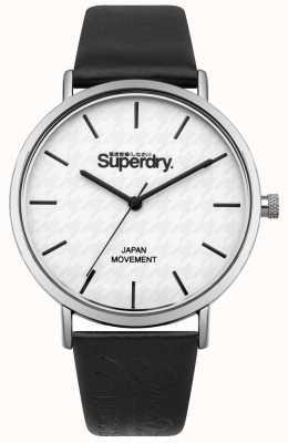 Superdry Bracelet en cuir noir avec cadran blanc SYL190B