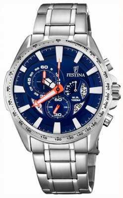 Festina Chronographe jour et date affichage bleu cadran en acier inoxydable F6864/3