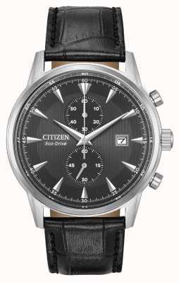 Citizen Chronographe corso homme noir bracelet en cuir noir cadran noir CA7000-04H