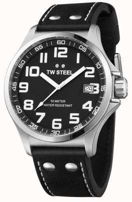 TW Steel Bracelet pilote noir en cuir noir avec cadran noir TW408