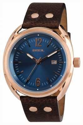 Breil Beaubourg acier inoxydable ipr cadran bleu bracelet marron TW1673