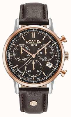 Roamer Vanguard mens cuir marron cadran brun lunette en or rose 975819495509