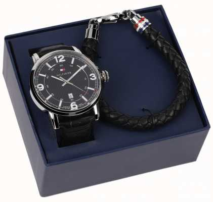 Tommy Hilfiger Ensemble cadeau pour montre et bracelet en cuir pour homme 2770026