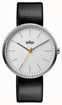 Braun Cadran blanc classique noir bracelet en cuir noir BN0173WHBKG