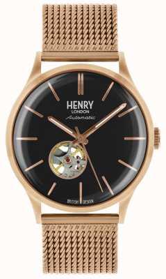 Henry London Bracelet en maille plaqué or rose automatique pour hommes HL42-AM-0286