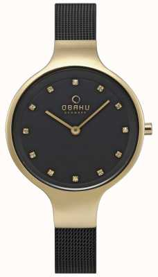 Obaku Womens sky watch noir bracelet en maille doré V173LXGBMB