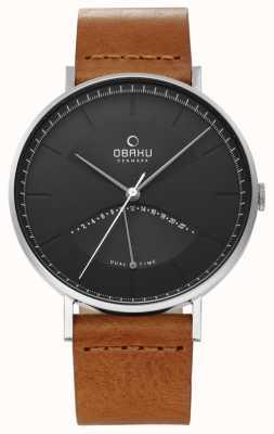 Obaku Montre orme homme bracelet cuir noir cadran noir V213GUCURZ