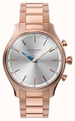 Kronaby 38mm sekel bluetooth rose bracelet en métal doré smartwatch A1000-2747